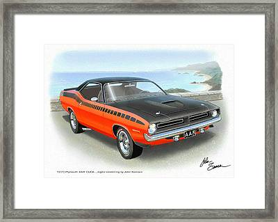 1970 Barracuda Aar  Cuda Classic Muscle Car Framed Print by John Samsen