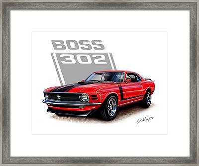 1970 Mustang Boss 302 Red Framed Print by David Kyte