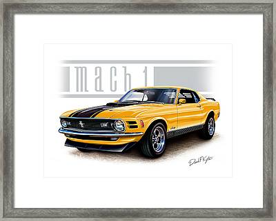 1970 Mustang Mach 1 In Yellow Framed Print by David Kyte