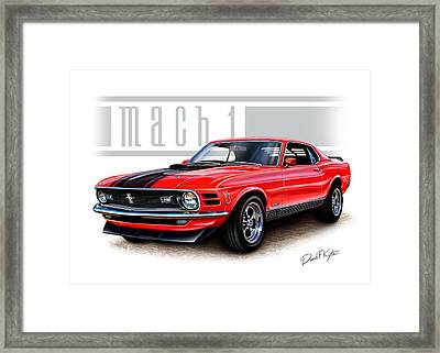 1970 Mustang Mach 1 Red Framed Print by David Kyte