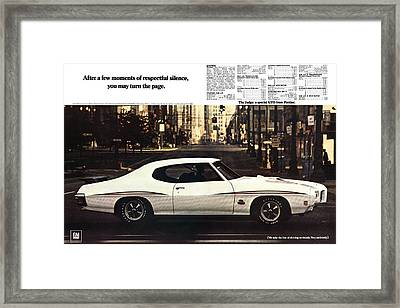 1970 Pontiac Gto The Judge  Framed Print by Digital Repro Depot