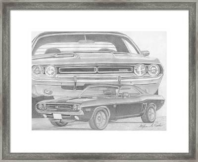 1971 Dodge Challenger Rt Classic Car Art Print Framed Print by Stephen Rooks