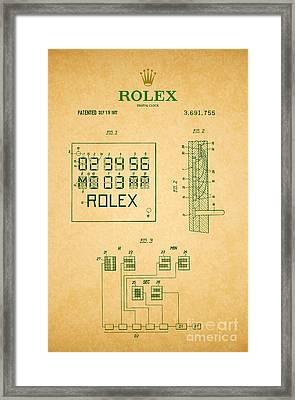 1972 Rolex Digital Clock Patent 2 Framed Print by Nishanth Gopinathan
