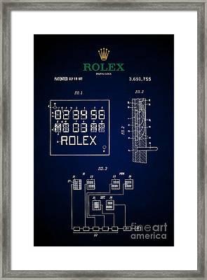 1972 Rolex Digital Clock Patent 5 Framed Print by Nishanth Gopinathan