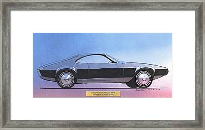 1973 Duster  Plymouth  Vintage Styling Design Concept Sketch Framed Print by John Samsen
