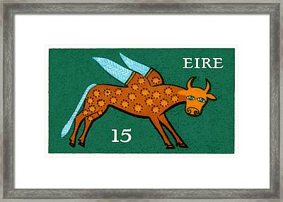 1975 Ireland Winged Ox Postage Stamp  Framed Print by Retro Graphics