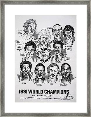 1981 Boston Celtics Championship Newspaper Poster Framed Print by Dave Olsen