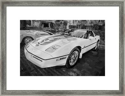 1984 Chevrolet Corvette Painted Bw  Framed Print by Rich Franco