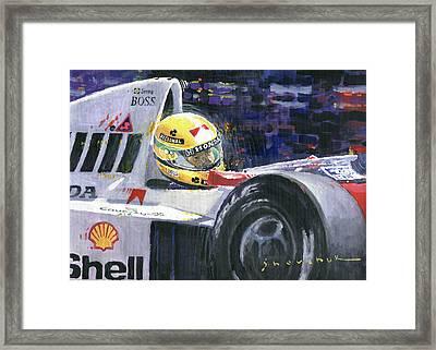 1990 Mclaren Honda Mp4 5b Ayrton Senna World Champion Framed Print by Yuriy Shevchuk