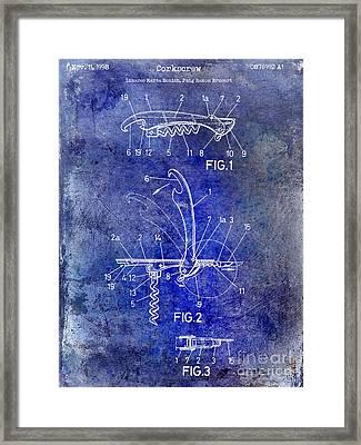 1998 Corkscrew Patent 2 Blue Framed Print by Jon Neidert