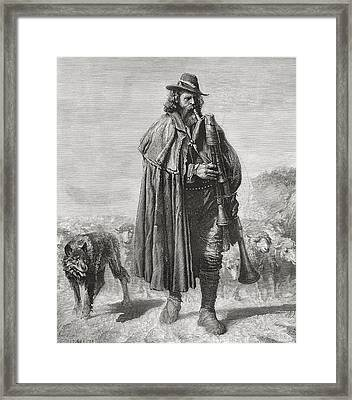 19th Century Italian Shepherd With His Framed Print by Vintage Design Pics