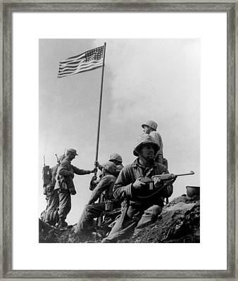 1st Flag Raising On Iwo Jima  Framed Print by War Is Hell Store