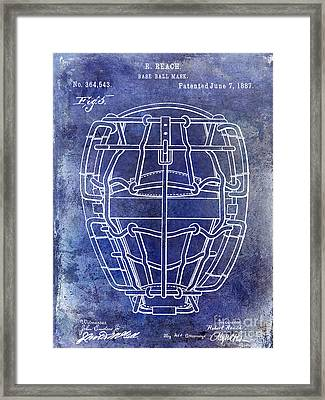 1887 Baseball Mask Patent Blue Framed Print by Jon Neidert