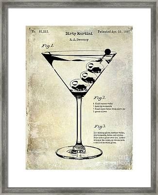 1897 Dirty Martini Patent Framed Print by Jon Neidert
