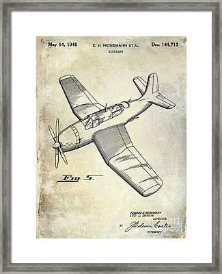 1946 Airplane Patent Framed Print by Jon Neidert