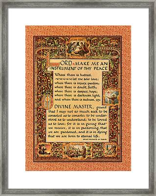 A Simple Prayer For Peace By St. Francis Of Assisi Framed Print by Desiderata Gallery