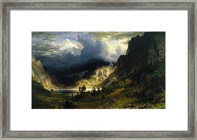 A Storm In The Rocky Mountains Framed Print by Albert Bierstadt