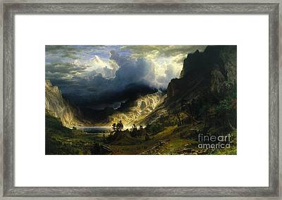 A Storm In The Rocky Mountains, Mt. Rosalie Framed Print by Celestial Images