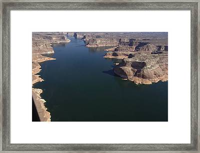 Aerial View Of Lake Powell Framed Print by Carl Purcell