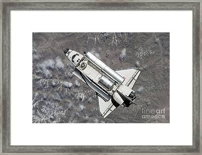 Aerial View Of Space Shuttle Discovery Framed Print by Stocktrek Images