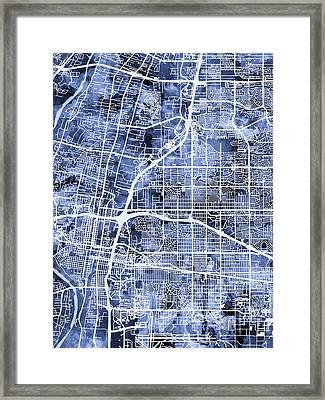 Albuquerque New Mexico City Street Map Framed Print by Michael Tompsett
