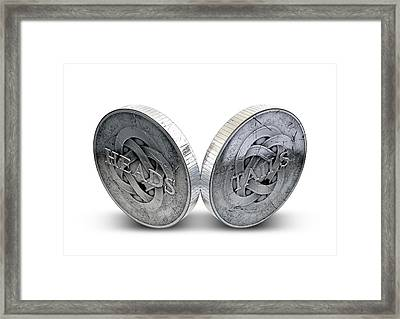 Antique Coins Heads And Tails Framed Print by Allan Swart