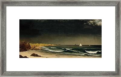 Approaching Storm Beach Near Newport Framed Print by Martin Johnson Heade