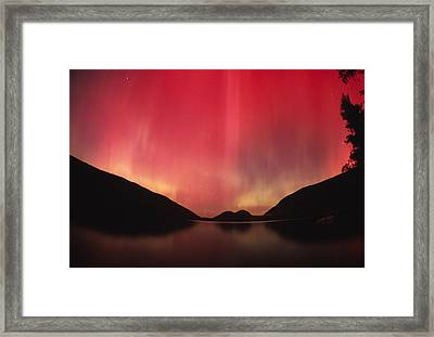 Aurora Borealis Over Jordan Pond Framed Print by Michael Melford