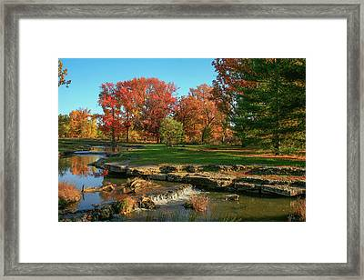 Autumn At The Deer Lake Creek Riffles In Forest Park St Louis Missouri Framed Print by Garry McMichael