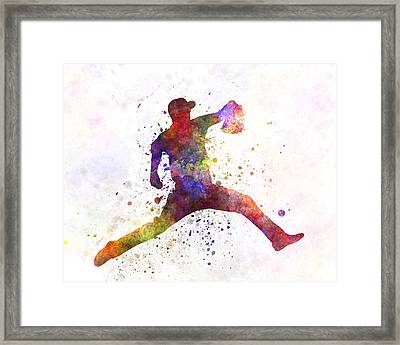 Baseball Player Throwing A Ball Framed Print by Pablo Romero