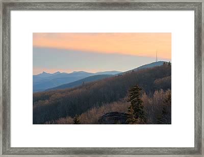 Blue Ridge Mountains Sunset  Framed Print by Ray Devlin