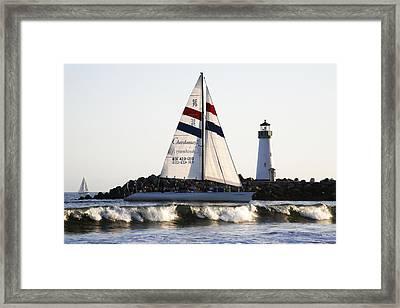 2 Boats Approach Framed Print by Marilyn Hunt