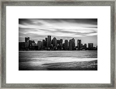 Boston Skyline Black And White Picture Framed Print by Paul Velgos
