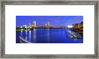Boston Skyline Panoramic At Night Framed Print by Joann Vitali