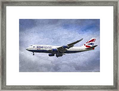 British Airways Airbus A380 Art Framed Print by David Pyatt