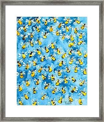 Busy, Busy Bee Framed Print by Roleen Senic