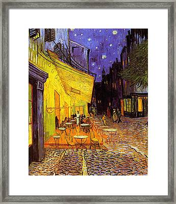 Cafe Terrace At Night Framed Print by Van Gogh