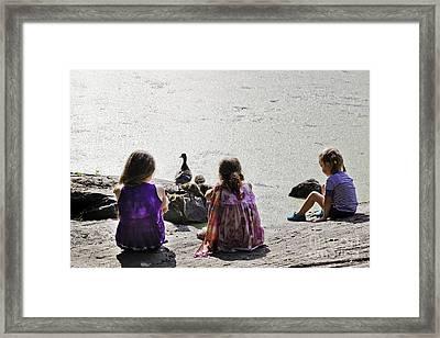Children At The Pond 5 Framed Print by Madeline Ellis
