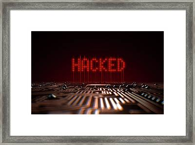 Circuit Board Hacked Text Framed Print by Allan Swart