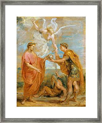 Constantius Appoints Constantine As His Successor Framed Print by Peter Paul Rubens