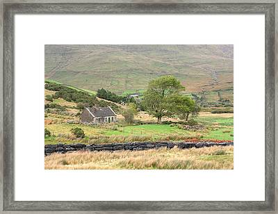 Cottage At The Foothill Of The Colorful Connemara Mountains Ireland  Framed Print by Pierre Leclerc Photography