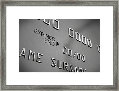 Credit Card Closeup Framed Print by Allan Swart