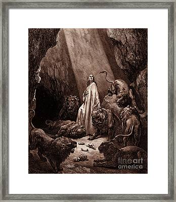 Daniel In The Den Of Lions Framed Print by Gustave Dore