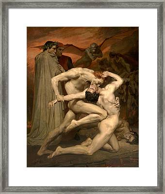 Dante And Virgil In Hell  Framed Print by William-Adolphe Bouguereau
