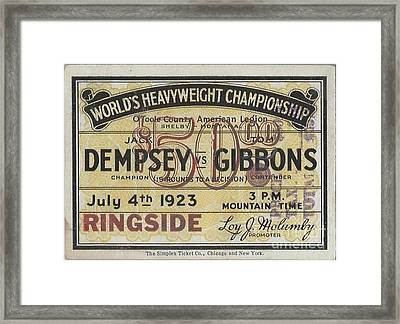 Dempsey Vs Gibbons Framed Print by Dennis ONeil