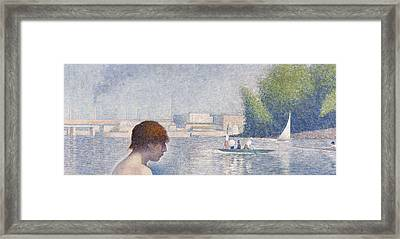 Detail From Bathers At Asnieres Framed Print by Georges Pierre Seurat