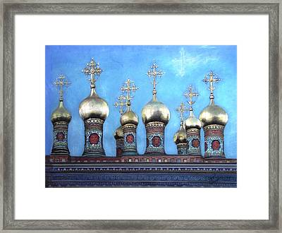 Domes Above The Moscow Kremlin Framed Print by Janet Grappin