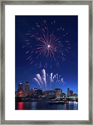 Downtown Fireworks Framed Print by Patrick Campbell