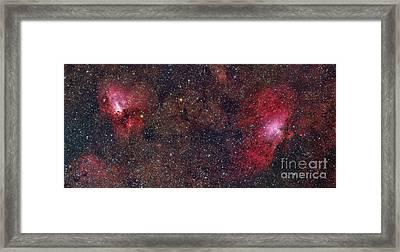 Eagle Nebula And Swan Nebula Framed Print by Roberto Colombari