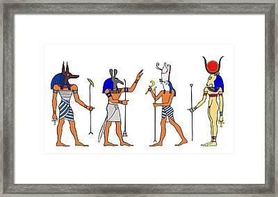Egyptian Gods And Goddess Framed Print by Michal Boubin